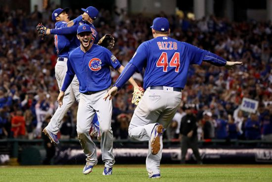 CLEVELAND, OH - NOVEMBER 02: Kris Bryant #17 and Anthony Rizzo #44 of the Chicago Cubs celebrate after defeating the Cleveland Indians 8-7 in Game Seven of the 2016 World Series at Progressive Field on November 2, 2016 in Cleveland, Ohio. The Cubs win their first World Series in 108 years. (Photo by Ezra Shaw/Getty Images) Source: Chicago Cubs' Priceless Reactions to Historic World Series Win | NBC Chicago http://www.nbcchicago.com/news/local/Chicago-Cubs-Priceless-Reactions-to-Historic-World-Series-Win-399774291.html#ixzz4PZjyxBMG Follow us: @nbcchicago on Twitter | nbcchicago on Facebook